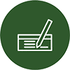 Icon mit Vertrag und Stift